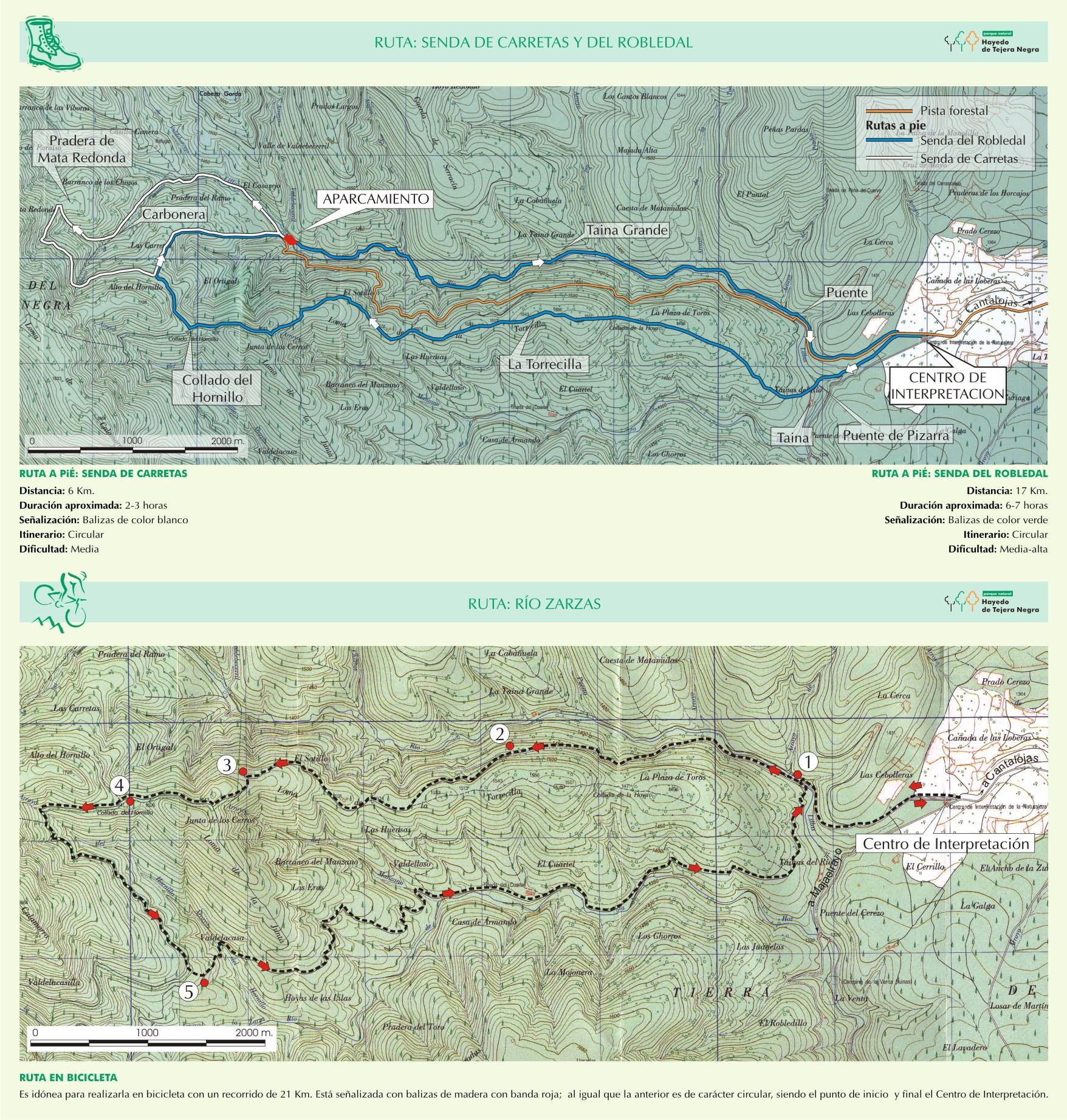 Mapa con las diferentes rutas que se pueden realizar en el Hayedo de la Tejera Negra